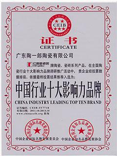 中国行业十大影响力品牌证书