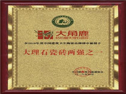"""2018年度中国建筑卫生陶瓷品牌榜""""大理石瓷砖两强之一"""""""
