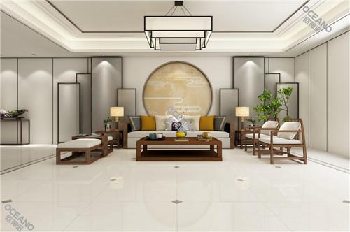 欧神诺新中式客厅案例分享,回归淡然,远离喧闹