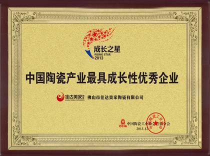 中国陶瓷产业最具成长性优秀企业