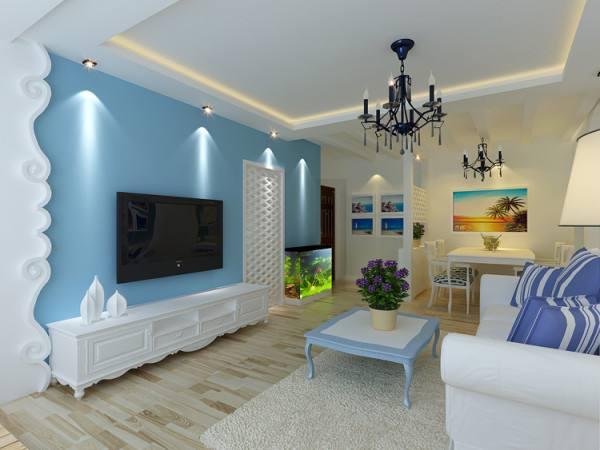 藍白色裝修風格效果圖客廳是什么樣子的?!