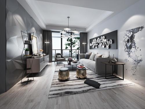 现代黑白灰客厅效果图好看吗?